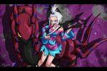 boots dress_shirt guitar hair_bobbles hair_ornament homika_(pokemon) instrument pokemon pokemon_(game) pokemon_bw2 ray-k scolipede shirt striped white_hair