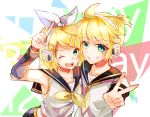 1boy 1girl ;d bangs black_sailor_collar black_sleeves blonde_hair bow brother_and_sister collarbone collared_shirt detached_sleeves eyebrows_visible_through_hair fang green_eyes hair_between_eyes hair_bow hairband headband headphones index_finger_raised kagamine_len kagamine_rin looking_at_viewer neckerchief necktie one_eye_closed open_mouth sailor_collar sailor_shirt shiny shiny_hair shirt short_hair siblings sleeveless sleeveless_shirt smile swept_bangs toratora789 upper_body v vocaloid white_bow white_hairband white_shirt yellow_neckwear