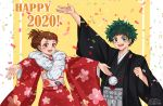 1boy 1girl 2020 :d artist_name black_kimono blush_stickers boku_no_hero_academia brown_eyes brown_hair clenched_hand confetti english_commentary floral_print freckles fur-trimmed_kimono fur_trim green_eyes green_hair happy_new_year japanese_clothes kimono looking_at_viewer midoriya_izuku new_year open_mouth outstretched_arms red_kimono reishichi smile uraraka_ochako