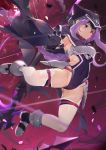 1girl absurdres black_gloves boots breasts covered_navel fate/grand_order fate_(series) gloves highres holding holding_weapon hood hood_up huge_filesize leotard long_hair medusa_(lancer)_(fate) nayuta_(una) purple_hair rider small_breasts smile thigh-highs very_long_hair violet_eyes weapon