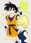 1girl aqua_eyes bare_arms bare_shoulders black_hair blonde_hair blue_shirt breasts brown_eyes clenched_hand clenched_hands clothes_writing collarbone dot_nose dougi dragon_ball dragon_ball_z eyelashes from_side frown genderswap genderswap_(mtf) grey_background hand_on_hip hand_up happy kalno looking_at_viewer looking_to_the_side number profile salute serious shirt sideboob simple_background sleeveless sleeveless_shirt small_breasts smile solo son_gokuu spiky_hair super_saiyan translation_request twitter_username v-shaped_eyebrows wristband