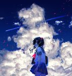 1girl bag black_hair clouds commentary contrast from_behind fuuna_(conclusion) glitch highres holding holding_bag long_hair looking_at_viewer looking_back miniskirt neckerchief original pink_neckwear pleated_skirt sailor_collar school_uniform serafuku shooting_star skirt sky solo star_(sky) starry_sky tagme twintails