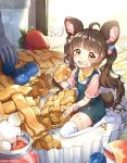 >o< 1girl ahoge animal_ear_fluff animal_ears apple_pie bangs blueberry brown_hair child commentary eating eyebrows_visible_through_hair food food_on_clothes food_on_face food_on_legs fork fruit full_body holding holding_food lerome light_brown_eyes long_hair looking_at_viewer minigirl mouse mouse_ears neckerchief open_mouth original overalls seiza short_sleeves sitting solo_focus strawberry tail thigh-highs twintails twitter_username very_long_hair white_legwear wristband yellow_neckwear