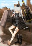 88_flak_(ash_arms) ash_arms bare_legs bare_shoulders boots commentary_request full_body gloves grey_hair hair_ornament hat highres leaning_on_object long_hair long_sleeves military_hat qingfeng_(clashu) ruins signature sky yellow_eyes