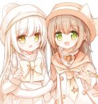 2girls :d bangs beret blush bow brown_eyes brown_hair brown_headwear brown_sailor_collar capelet dress eyebrows_visible_through_hair fur-trimmed_capelet fur-trimmed_sleeves fur_trim green_eyes hair_between_eyes hat jacket long_hair long_sleeves multiple_girls open_clothes open_jacket open_mouth original sailor_collar sailor_dress simple_background sleeves_past_wrists smile very_long_hair white_background white_bow white_capelet white_coat white_dress white_hair white_headwear white_neckwear yuuhagi_(amaretto-no-natsu)
