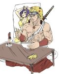 1boy abs animal_hood blonde_hair blue_eyes bowl cameo cardcaptor_sakura character_doll chopsticks clothes_around_waist commentary commission cowboy_bebop dakimakura_(object) desempregado-sama dragon_ball_(object) fatal_fury faye_valentine figure forehead_protector frown geese_howard hair_slicked_back hakama headband hood japanese_clothes jewelry katana katsuragi_misato kero male_focus muscle naruto_(series) neon_genesis_evangelion otaku otaku_room pendant pikachu_hood pillow pokemon pokemon_(game) ryuuko_no_ken sheath sheathed sitting solo sunagakure_symbol sword sword_behind_back the_king_of_fighters vambraces weapon
