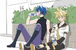 2boys bass_clef black_collar black_shorts black_sleeves blonde_hair blue_eyes blue_hair blush boots bottle bush collar detached_sleeves drinking headset highres holding holding_bottle holding_shirt kagamine_len kaito kaito_(vocaloid3) knee_boots knees_up leg_warmers male_focus multiple_boys nail_polish necktie outdoors pants pocari_sweat sailor_collar school_uniform shirt short_ponytail short_sleeves shorts sitting sleeveless sleeveless_turtleneck spiky_hair sweat translated turtleneck vocaloid white_shirt yellow_nails yellow_neckwear yuki_(tarojamg)