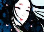 aqua_background black_hair cherry_blossoms chibigou commentary_request highres lipstick makeup original petals red_lipstick violet_eyes white_skin