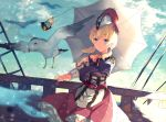 1girl bangs blonde_hair blue_eyes closed_mouth collarbone door edna_(tales) eyebrows_visible_through_hair floating_hair hair_between_eyes hat holding holding_umbrella long_skirt long_sleeves looking_at_viewer low_twintails normin_(tales) outdoors red_skirt shibaebi_(yasaip_game) short_hair skirt smile solo standing tales_of_(series) tales_of_zestiria twintails umbrella white_headwear white_umbrella