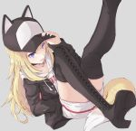 1girl baseball_cap black_jacket blonde_hair blue_eyes boots choker dog_tail fang foot_out_of_frame hand_in_pocket hat hat_with_ears highres hood hood_down hoodie jacket kmnz long_hair long_sleeves mc_lita open_mouth suu2510 tail thigh-highs thigh_boots virtual_youtuber