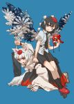 2girls ;) amayadori-tei animal_ears black_hair black_legwear black_neckwear black_skirt blue_background breasts buttons feathered_wings fingernails geta hat highres holding holding_mask holding_sword holding_weapon human_chair human_furniture inubashiri_momiji kneeling leaning_forward long_sleeves mask medium_breasts miniskirt multiple_girls necktie one_eye_closed open_mouth pleated_skirt pointy_ears pom_pom_(clothes) puffy_short_sleeves puffy_sleeves red_eyes red_footwear red_headwear ribbon-trimmed_skirt ribbon-trimmed_sleeves ribbon_trim sandals shameimaru_aya shirt short_hair short_sleeves simple_background sitting sitting_on_person skirt smile socks sweatdrop sword tabi tail tengu-geta tengu_mask touhou weapon white_hair white_shirt wide_sleeves wings wolf_ears wolf_tail