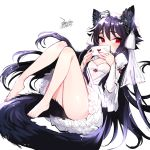 1girl animal_ears bare_legs barefoot black_hair bride covered_mouth dress ejami ekko_(ejami) fox_ears fox_girl fox_tail full_body letter long_hair love_letter original red_eyes tail wedding_dress