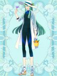 1boy :d aqua_hair black_pants black_shirt blue_background bucket closed_eyes earrings elf facing_viewer full_body hat_ornament holding jewelry kerberos_blade l_(matador) long_hair looking_at_viewer male_focus open_mouth pants pointy_ears shirt sidelocks simple_background smile solo standing toy very_long_hair white_headwear