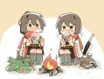 2girls aircraft airplane billhook black_skirt box brown_eyes brown_hair campfire chibi commentary_request e16a_zuiun eating firewood food full_body hakama_skirt highres hyuuga_(kantai_collection) ise_(kantai_collection) japanese_clothes kantai_collection konno_akikaze long_sleeves multiple_girls pleated_skirt red_scarf remodel_(kantai_collection) ribbon-trimmed_sleeves ribbon_trim scarf short_hair sitting skin_tight skirt stuffed_toy sweet_potato tree_stump undershirt wide_sleeves