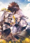 armor black_hair blue_eyes clouds cloudy_sky commentary_request flower flower_necklace goroo granblue_fantasy hood hoodie jewelry necklace noa_(granblue_fantasy) pauldrons rackam_(granblue_fantasy) silver_hair sky yaoi yellow_flower