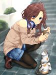 1girl absurdres bare_shoulders black_legwear blue_eyes blush brown_hair cat commentary_request copyright_request denim denim_shorts from_side headphones headphones_around_neck highres holding kneeling long_hair long_sleeves looking_at_viewer pantyhose red_footwear shoes short_shorts shorts smile solo sweater tries