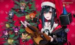 6+girls amiya_(arknights) arknights black_hair black_jacket bow chibi christmas christmas_tree closure_(arknights) collar cube fang_(arknights) gum_(arknights) hat hibiscus_(arknights) highres holding holding_instrument instrument jacket kroos_(arknights) lava_(arknights) multiple_girls open_mouth orange_eyes pointy_ears ram_(ramlabo) red_bow santa_hat shirt smile snowflake_background violin watermark white_shirt