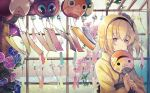 1girl bangs black_hairband blonde_hair blue_eyes closed_mouth edna_(tales) eyebrows_visible_through_hair fan hair_between_eyes hairband holding holding_fan japanese_clothes kimono long_sleeves normin_(tales) print_kimono shibaebi_(yasaip_game) shiny shiny_hair short_hair side_ponytail smile solo tales_of_(series) tales_of_zestiria upper_body yellow_kimono yukata