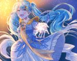1girl :d absurdres backlighting beamed_eighth_notes blue_background blue_dress blue_eyes blue_hair blue_ribbon blue_theme blush breasts collared collared_dress commentary dress eighth_note english_commentary epaulettes eyebrows_visible_through_hair feathers flat_sign floating_hair frilled_dress frills gloves glowing gradient gradient_background hair_between_eyes hair_ornament hair_ribbon happy hat hat_feather hatsune_miku highres long_hair looking_away mizuamemochimochi musical_note open_mouth orange_background outstretched_hand red_ribbon ribbon sailor_collar small_breasts smile snow snowflake_print snowflakes solo tongue twintails upper_body very_long_hair vocaloid white_gloves white_sailor_collar x_hair_ornament yuki_miku yuki_miku_(2020)