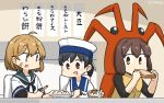3girls bandaid bandaid_on_face black_hair blue_sailor_collar brown_eyes brown_hair commentary_request dated dress eating food hamu_koutarou hat hiburi_(kantai_collection) highres ice_cream ise_(kantai_collection) kantai_collection lobster_costume low_ponytail multiple_girls oboro_(kantai_collection) sailor_collar sailor_dress sailor_hat sandwich school_uniform serafuku short_hair short_sleeves table translation_request upper_body white_dress