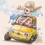 2girls anna_(frozen) beige_background blonde_hair blue_eyes braid brown_hair car commentary_request driving elsa_(frozen) eyebrows_visible_through_hair fiat fiat_500 frozen_(disney) ground_vehicle kiichi long_hair lupin_iii motor_vehicle multiple_girls olaf_(frozen) open_mouth parody siblings simple_background single_braid sisters snowflakes