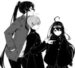 1boy 2girls ahoge alternate_costume bangs cellphone chin_on_head chin_rest eyebrows_visible_through_hair greyscale hand_in_pocket hatsushimo_(kantai_collection) headband height_difference highres jacket kantai_collection little_boy_admiral_(kantai_collection) long_hair long_sleeves monochrome multiple_girls pants phone ponytail rindou_(rindou_annon) simple_background smartphone smile turtleneck white_background yahagi_(kantai_collection)