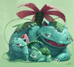 brown_eyes bulbasaur claws commentary creature english_commentary full_body gen_1_pokemon green_theme ivysaur mcgmark no_humans pokemon pokemon_(creature) shadow signature simple_background smile standing venusaur