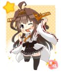1girl ahoge black_eyes black_skirt boots brown_hair character_name chibi detached_sleeves double_bun full_body gradient gradient_background hairband headgear japanese_clothes kantai_collection kongou_(kantai_collection) long_hair looking_at_viewer one_eye_closed pleated_skirt polka_dot polka_dot_background popped_collar remodel_(kantai_collection) ribbon-trimmed_sleeves ribbon_trim skirt smile solo taisa_(kari) thigh-highs thigh_boots waving