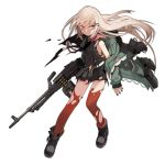 1girl bags_under_eyes bangs black_dress black_footwear black_nails boots box_magazine bruise bullet clenched_teeth dress english_text fingernails fire full_body girls_frontline green_jacket gun hair_ornament hairclip heavy_machine_gun holding holding_gun holding_weapon injury jacket jong_tu light_brown_hair long_hair long_sleeves looking_to_the_side machine_gun nail_polish object_namesake official_art open_clothes open_jacket parted_lips red_eyes red_legwear short_dress sidelocks solo teeth thigh-highs torn_boots torn_clothes torn_dress torn_jacket torn_legwear transparent_background type_80 type_80_(girls_frontline) very_long_hair watermark weapon web_address