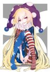 1girl absurdly_long_hair absurdres american_flag_dress american_flag_legwear blonde_hair clownpiece dress fairy_wings full_body grey_background hat head_tilt highres jester_cap knees_up long_hair looking_at_viewer maimuro neck_ruff no_shoes open_mouth pantyhose pigeon-toed pink_eyes polka_dot purple_headwear sitting smile solo star star_print striped touhou two-tone_background very_long_hair white_background wings