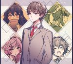 1boy 4girls :d ^_^ aicedrop bangs blush book bow closed_eyes doki_doki_literature_club eyebrows_visible_through_hair grey_jacket hair_between_eyes hair_bow hair_ornament hair_ribbon hairclip jacket long_hair looking_away monika_(doki_doki_literature_club) multiple_girls natsuki_(doki_doki_literature_club) necktie open_mouth outline ponytail protagonist_(doki_doki_literature_club) red_neckwear ribbon sayori_(doki_doki_literature_club) school_uniform short_hair smile white_outline yuri_(doki_doki_literature_club)
