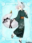 ahoge androgynous animal_ears bangs black_ribbon blue_background blunt_bangs bow copyright_name fox_ears fox_tail full_body green_bow green_kimono grey_hair hair_bow hair_rings japanese_clothes kimono l_(matador) pandora_party_project ribbon sandals short_hair simple_background solo standing standing_on_one_leg tail tail_ribbon unmoving_pattern wide_sleeves yellow_butterfly yellow_eyes