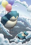 balloon claws clouds cloudy_sky facing_another fangs gen_1_pokemon gen_4_pokemon highres lying munchlax no_humans on_back pokemon signature sky sleeping snorlax watermark web_address