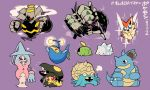 black_eyes blue_eyes closed_eyes dusknoir fangs gen_1_pokemon gen_2_pokemon gen_3_pokemon gen_4_pokemon gen_5_pokemon gen_6_pokemon gen_8_pokemon golisopod gulpin hatterene heart highres lanturn mawile nidoqueen no_humans o3o omastar open_mouth pokemon pokemon_(creature) purple_background rariatto_(ganguri) red_eyes simple_background sitting smile smoke snom sparkle standing victini