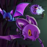 cave commentary creature english_commentary fang fangs flying full_body gen_1_pokemon gen_5_pokemon gen_6_pokemon mcgmark no_humans noibat pokemon pokemon_(creature) signature trait_connection watermark web_address woobat yellow_eyes zubat