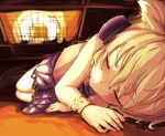 1girl bare_arms blonde_hair blush bracelet closed_eyes eyelashes glint headphones heater highres jewelry kotatsu lying miniskirt on_side pointy_hair senzaicha_kasukadoki shirt short_hair skirt sleeveless sleeveless_shirt solo sweat table touhou toyosatomimi_no_miko under_kotatsu under_table