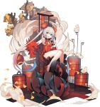 1girl :3 ahoge azur_lane bangs blue_hair blunt_bangs blush breasts eyebrows_visible_through_hair grey_hair halsey_powell_(azur_lane) highres long_hair looking_at_viewer multicolored_hair official_art open_mouth rain_lan red_footwear redhead sitting small_breasts smile solo twintails very_long_hair