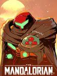 1girl alien cloak copyright_name hand_cannon helmet highres holding metroid metroid_(creature) parody power_suit rariatto_(ganguri) samus_aran star_wars sun sunset the_mandalorian