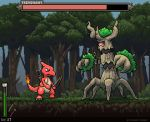 arrow battle blue_eyes blue_sky bow_(weapon) character_name charmeleon claws commentary creature damage_numbers day english_commentary eye_contact fiery_tail forest full_body gen_1_pokemon gen_6_pokemon grass health_bar height_difference holding holding_arrow holding_bow_(weapon) holding_weapon horn horns looking_at_another mcgmark nature no_humans number pixel_art pokemon pokemon_(creature) quiver red_eyes serious single_eye sky standing tail tree trevenant walking watermark weapon web_address