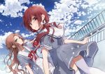 2girls bangs blue_dress blush bow brown_hair clouds commentary_request day dress green_eyes hair_bow hand_in_hair long_hair looking_at_viewer looking_back multiple_girls neck_ribbon no_bangs original outdoors petals railing red_eyes red_neckwear redhead ribbon rooftop sailor_dress short_sleeves smile thigh-highs twintails white_bow white_legwear yukiko_(tesseract)