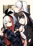4girls admiral_graf_spee_(azur_lane) admiral_hipper_(azur_lane) antenna_hair azur_lane bangs black_hair blonde_hair blue_eyes brown_eyes brown_jacket casual choker cup detached_sleeves deutschland_(azur_lane) fang flat_chest gloves green_eyes hand_up headband holding holding_cup index_finger_raised iron_cross jacket long_hair looking_at_viewer looking_to_the_side mania_(fd6060_60) military_jacket multicolored_hair multiple_girls open_mouth outside_border prinz_eugen_(azur_lane) redhead scarf short_hair smile streaked_hair two_side_up white_hair