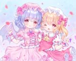 2girls ;p absurdres ascot bat_wings blonde_hair bow brooch dress flandre_scarlet frills hat hat_ribbon highres jewelry lavender_hair lolita_fashion looking_at_viewer mob_cap multiple_girls omochi_monaka one_eye_closed open_mouth pink_dress puffy_short_sleeves puffy_sleeves red_bow red_eyes red_vest remilia_scarlet ribbon ribbon_trim short_hair short_sleeves siblings side_ponytail sisters smile the_embodiment_of_scarlet_devil tongue tongue_out touhou vest wings wrist_cuffs yume_kawaii