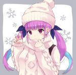 1girl bangs beanie blue_hair blush closed_mouth hair_ribbon hat highres hololive long_hair looking_at_viewer minato_aqua minikon multicolored_hair pom_pom_(clothes) purple_hair ribbon simple_background sleeves_past_wrists smile snowflakes solo sweater two-tone_hair upper_body violet_eyes virtual_youtuber white_background