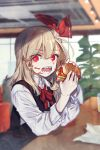 1girl arm_rest bangs black_vest blonde_hair bow bowtie collared_shirt commentary_request cup eating food food_on_face hair_between_eyes hair_ribbon hamburger highres holding holding_food indoors long_hair long_sleeves looking_at_viewer messy open_mouth plant red_eyes red_neckwear red_ribbon ribbon rumia sharp_teeth shirt solo teeth touhou vest white_shirt wing_collar zounose