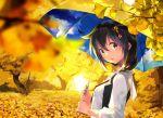 1girl ahoge blue_eyes braid brown_hair chig hair_ornament kantai_collection leaf shigure_(kantai_collection) single_braid solo tree umbrella