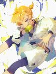 1boy absurdres blonde_hair blue_eyes bottle commentary covering_mouth drawstring feet_out_of_frame highres holding holding_bottle jacket leaning_forward looking_at_viewer male_focus midriff_peek short_ponytail shorts sparkle spiky_hair splashing symbol_commentary tank_top tsurime vocaloid white_background white_jacket white_shorts yamada_ichi