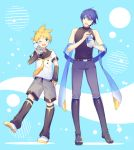 2boys belt black_collar black_footwear black_sleeves blonde_hair blue_background blue_eyes blue_hair blue_pants boots bottle collar detached_sleeves full_body grey_shorts headphones headset holding holding_bottle kagamine_len kagamine_len_(vocaloid4) kaito kaito_(vocaloid3) knee_boots leg_up leg_warmers looking_at_another male_focus multiple_boys nail_polish necktie one_eye_closed open_mouth pants pocari_sweat product_placement sailor_collar scarf school_uniform shirt short_ponytail short_sleeves shorts sinaooo sleeveless sleeveless_turtleneck smile spiky_hair standing thumb_in_pocket turtleneck v4x vocaloid white_footwear white_shirt yellow_nails yellow_neckwear