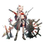 1girl :d ankle_strap arknights bandeau bangs belt black_legwear blush body_markings braid breasts coat collarbone dragon_girl dragon_horns dragon_tail earrings eyebrows_visible_through_hair full_body hand_on_hip highres holding holding_weapon horns huanxiang_heitu jewelry long_hair looking_at_viewer multicolored_hair navel nian_(arknights) official_art open_clothes open_coat open_mouth pointy_ears ponytail pouch red_bandeau redhead shoes shorts side_braid sidelocks slit_pupils small_breasts smile sneakers socks solo stomach streaked_hair tail tongue tongue_out violet_eyes weapon white_coat white_footwear white_hair white_shorts wide_sleeves