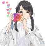 1girl absurdres artist_name bangs black_eyes black_hair camera commentary_request eyebrows_visible_through_hair heart highres holding holding_camera instagram jacket long_hair long_sleeves looking_at_viewer multicolored multicolored_nails nail_polish original pocket sako_(35s_00) shirt signature simple_background smile solo twintails upper_body white_background white_jacket white_shirt