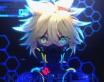 1boy blonde_hair blue_eyes cable character_name commentary cyberpunk ei_flow english_commentary english_text face_mask glowing glowing_eyes heterochromia hexagon highres kagamine_len looking_at_viewer male_focus mask multicolored multicolored_eyes neon_lights portrait spiky_hair twitter_username vocaloid yellow_eyes
